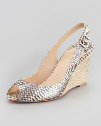 Puglia Snake-Embossed Espadrille Wedge