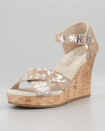 Brushed Metallic Cork Wedge, Pewter