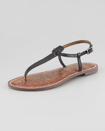 Gigi Leather Thong Sandal, Black