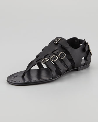 Galatea Buckled Gladiator Thong Sandal, Black