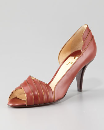 Layered Leather Peep-Toe Pump, Tobacco