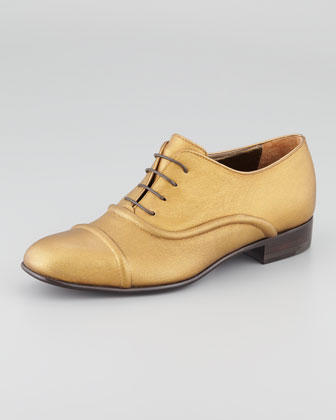 Metallic Lace-Up Oxford, Bronze