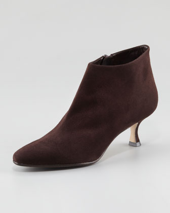 Maleeba Suede Low-Heel Bootie, Brown