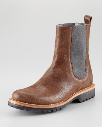 Textured Leather Chelsea Boot