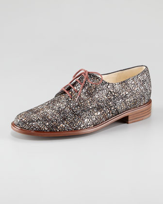 Printed Suede Lace-Up Oxford