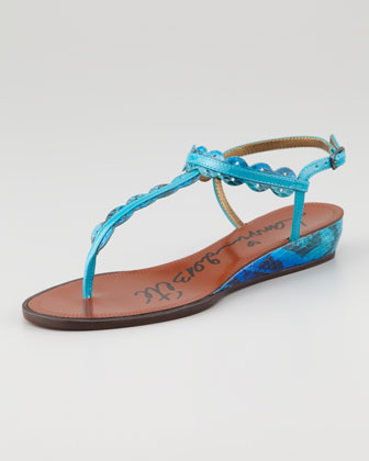 Snakeskin Mini Wedge Sandal, Blue