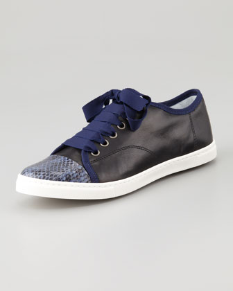 Snake-Cap-Toe Leather Sneaker, Blue/Black