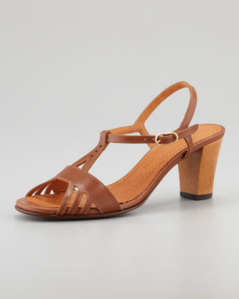 Wisdom Leather T-Strap Sandal, Tan