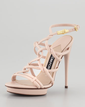 Platform Sandal with Snake Head Buckle, Light Pink