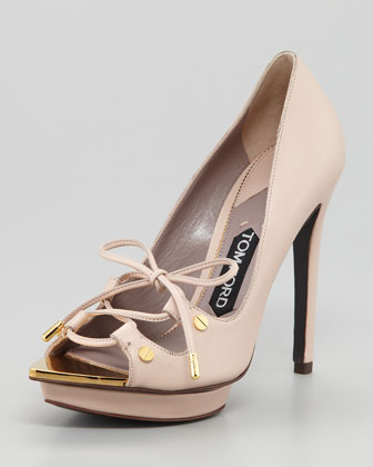 Lace-Up Platform Pump, Light Pink