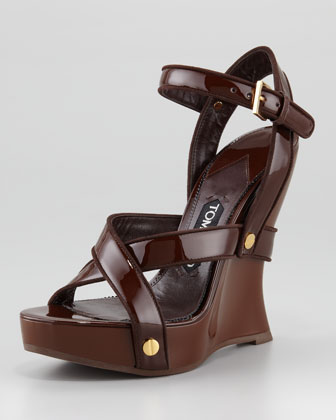 Lacquered Crisscross Wedge Sandal