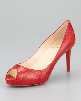 Watersnake Red Sole Peep-Toe Pump, Red