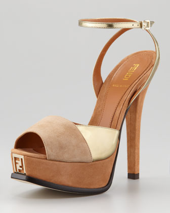 Fendista Colorblock Ankle-Wrap Sandal, Gold Camel