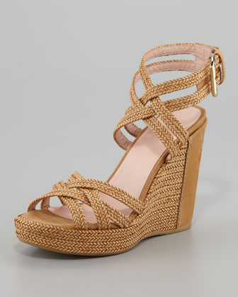 Reins Braided Wedge Sandal, Camel