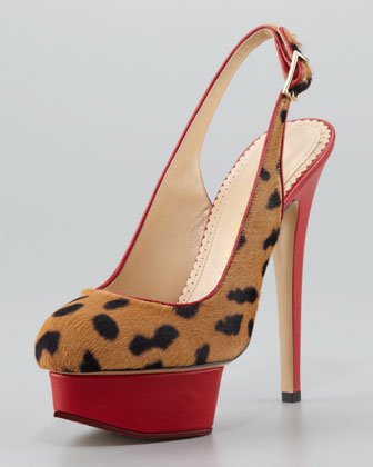 Spotted Calf Hair Slingback Platform Pump