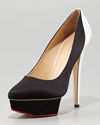 Masako Two-Tone Satin Pump, Black/White
