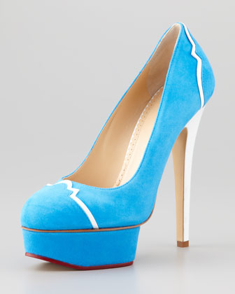 Suede Leather-Trim Platform Pump