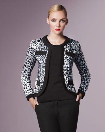 Animal-Print Jacket, Petite
