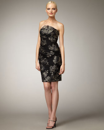 Strapless Embroidered Lace Dress