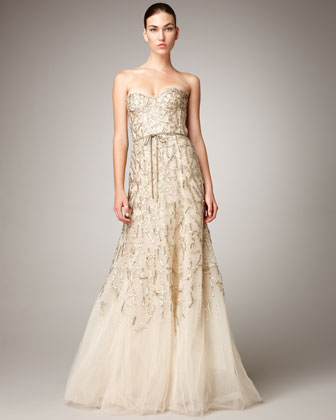 Strapless Tulle Chantilly Lace Gown