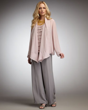Sheer Draped Jacket, Petite