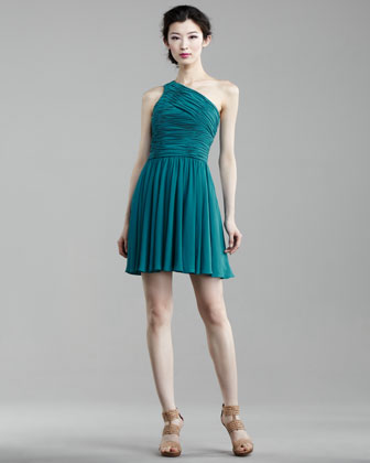 Short Ruched-Top Dress