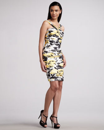 Printed V-Neck Cocktail Dress