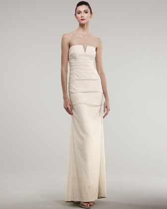 Strapless SplitNeck Jacquard Gown Nicole Miller