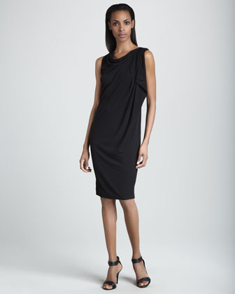 Draped-Shoulder Asymmetric Dress