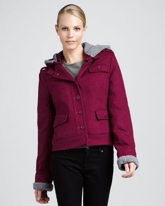 Waverly Hooded Shearling-Trim Short Coat