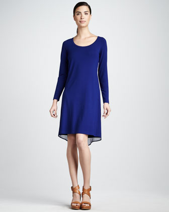 Chiffon-Trim Jersey Dress