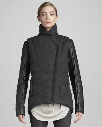 Mix-Fabric Puffer Jacket