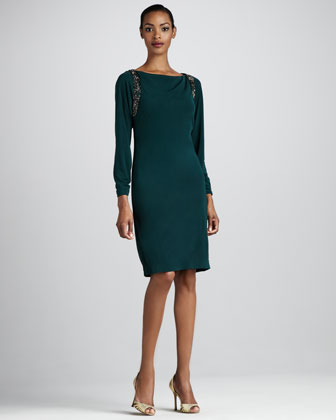 Bead-Shoulder Cocktail Dress