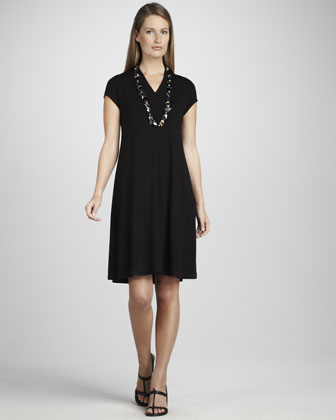 V-Neck Cap-Sleeve Jersey Dress, Women's