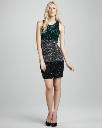 Sequined Colorblock Dress