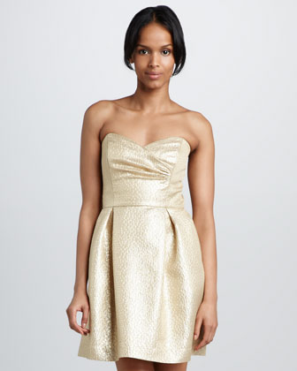 Dorna Metallic Jacquard Dress