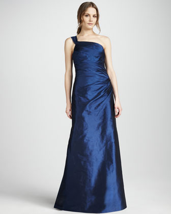 One-Shoulder Gown, Navy