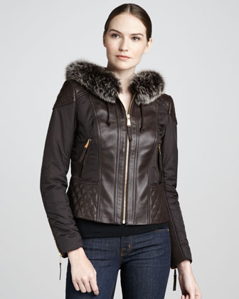 Quilted Fur-Trim Leather Jacket