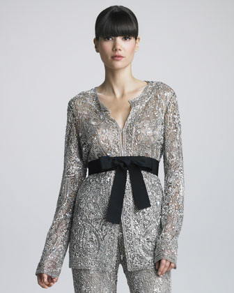 Sequined Belted Jacket