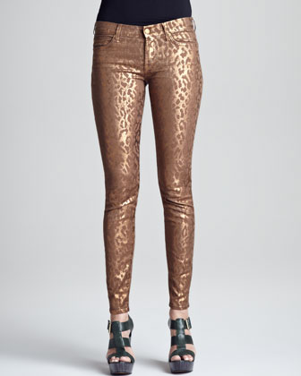 Skinny Copper Cheetah-Print Jeans