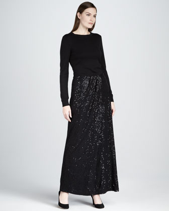 Sequin Ruched Maxi Skirt