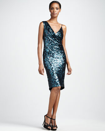 Asymmetric Sequined Cocktail Dress