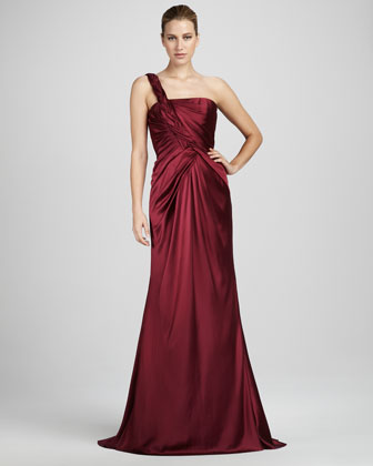 Braid-Strap Satin Gown