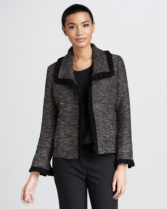 Ruffle-Trim Tweed Jacket