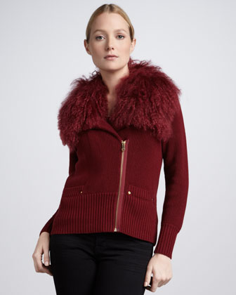 Shearling-Collar Motorcycle Cardigan