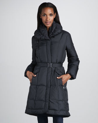 Oversized-Collar Puffer Coat