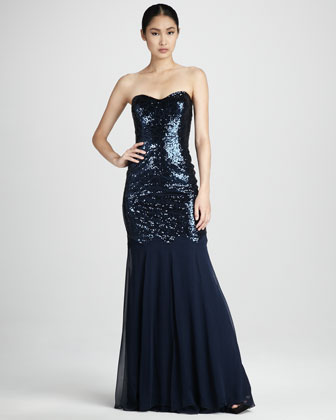 Chiffon-Skirt Sequined Gown