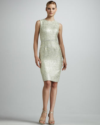Metallic Tweed Sheath Dress