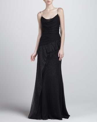 Asymmetric Beaded Gown