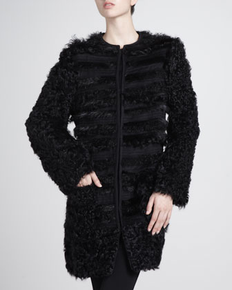 Mixed-Fur Tiered Coat